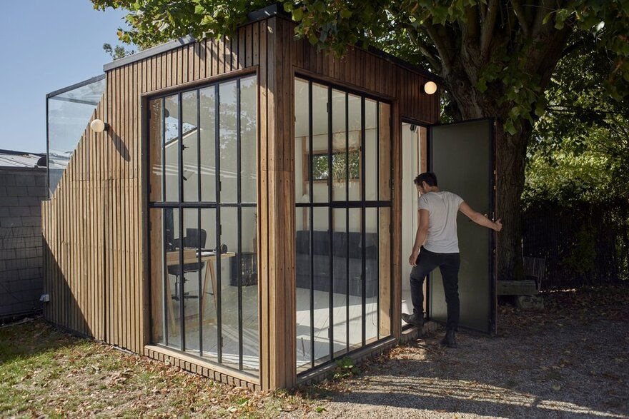 Old Tool Shed Transformed into an Intimate Studio for a Music Composer