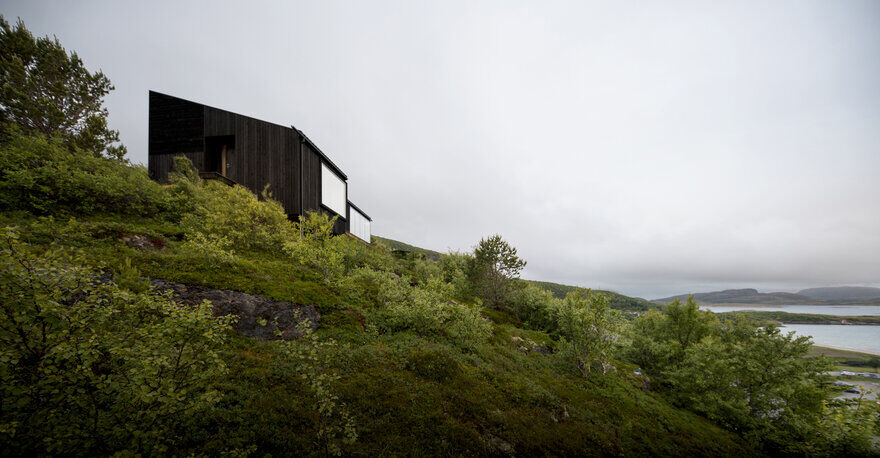 A Wooden Hillside Cabin by Kappland Arkitekter on the Island of Stokkøya, Norway