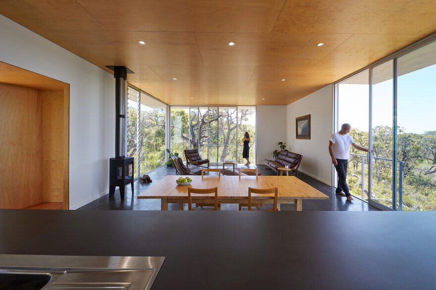 Wilderness House is a Elevated Platform with Large Areas of Glass