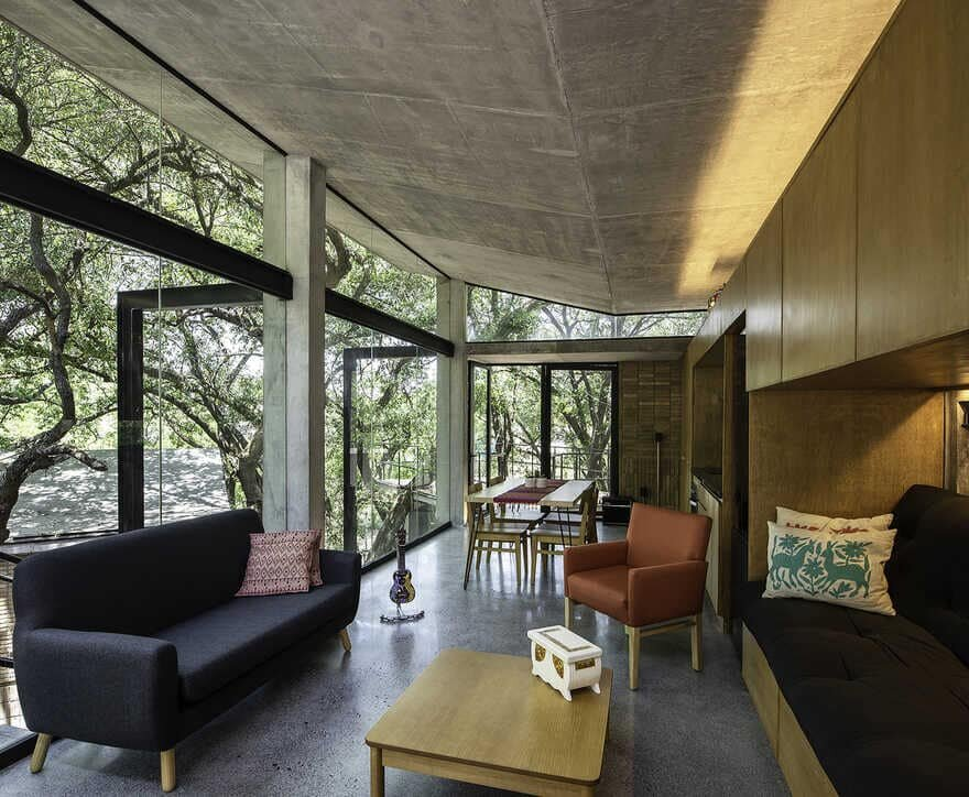 Small Pavilions Connected by External Walkways, living room