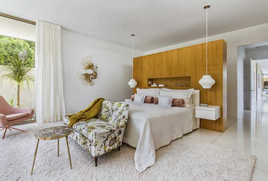bedroom, Updating a Mid-Century Modern Residence Near Palm Springs