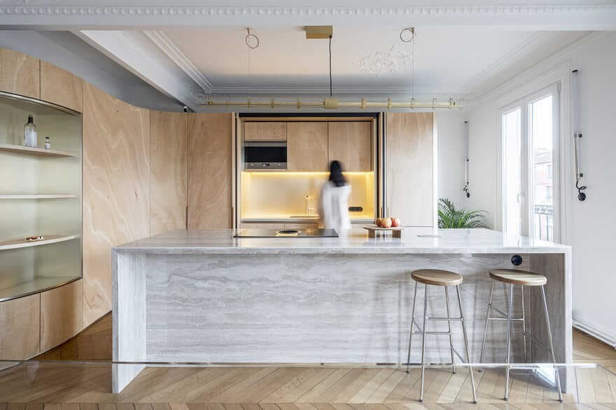 Haussmannian Parisian Apartment - Wood Ribbon by Toledano+Architects