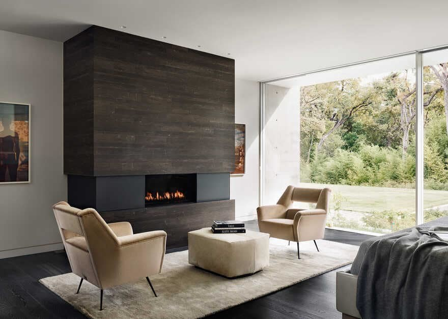 The Preston Hollow home by Specht Architects, bedroom, fireplace