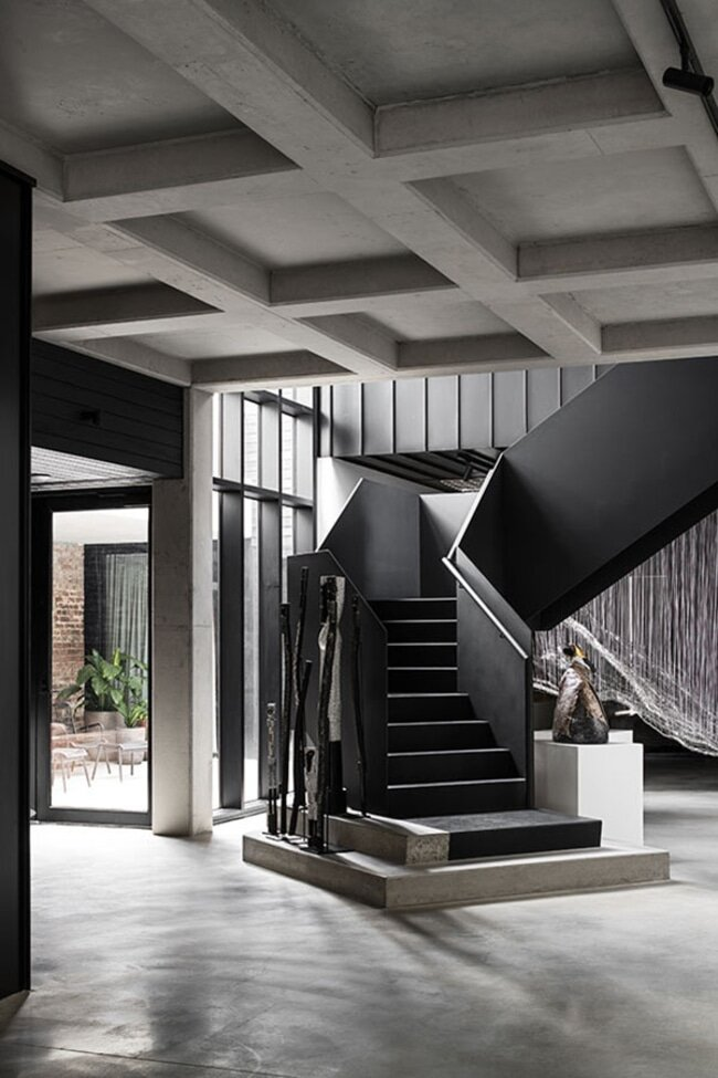 staircase, a Brutalist Home in a Former Textile Factory