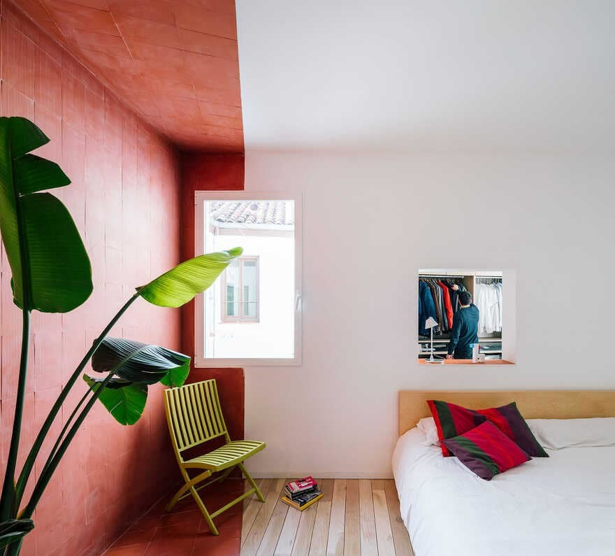 bedroom, gon architects, Scenographies of Living for a Bachelor in Madrid