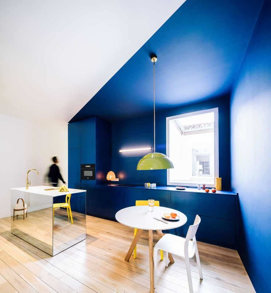kitchen, gon architects, Scenographies of Living for a Bachelor in Madrid