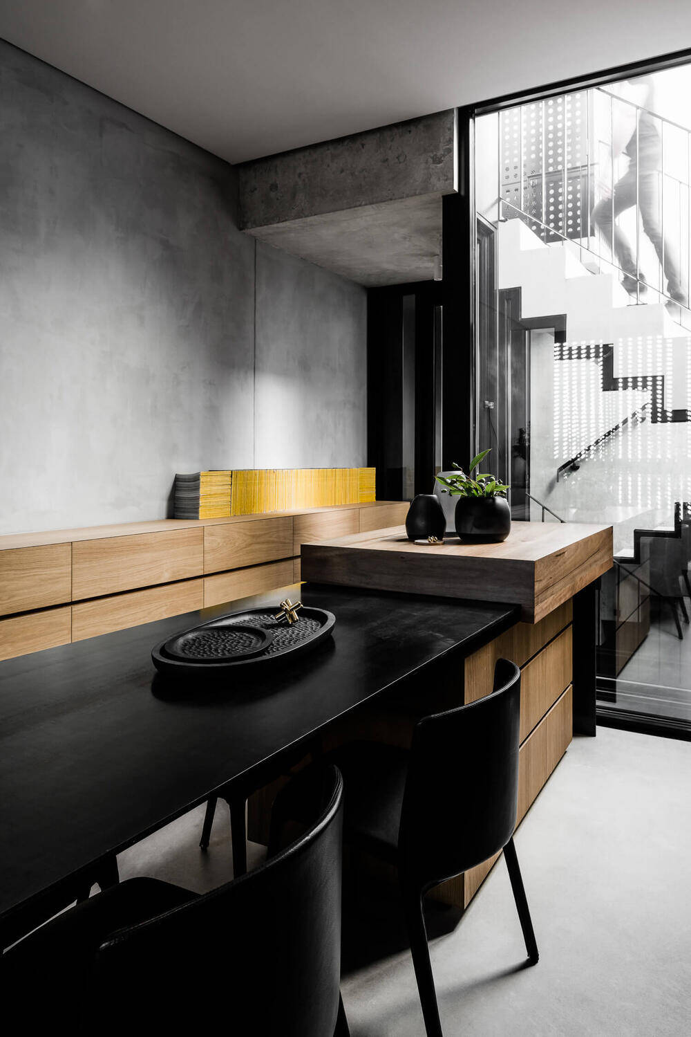 kitchen, dining room, Multi Residential Architecture and Vertical Living