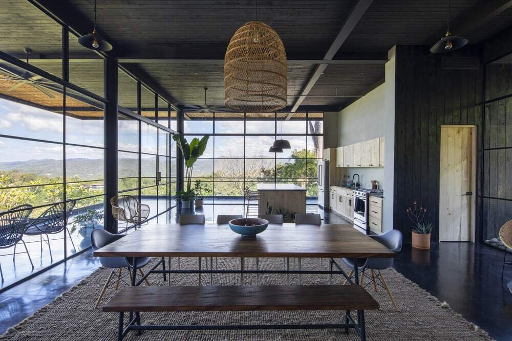 Charred Timber House Frames Views of the Pacific Ocean in Costa Rica