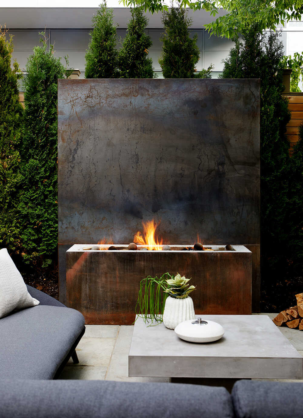 fireplace, terrace, outdoor living, Ancerl Studio