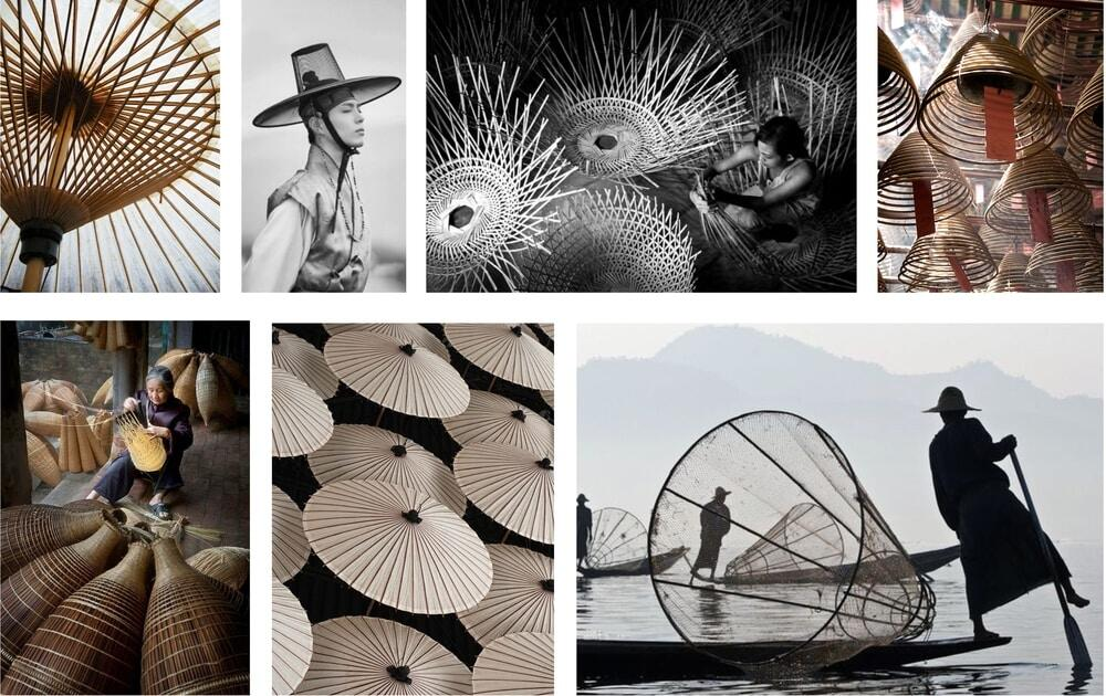 Inspiration by Asian traditions of weaving from rattan and bamboo