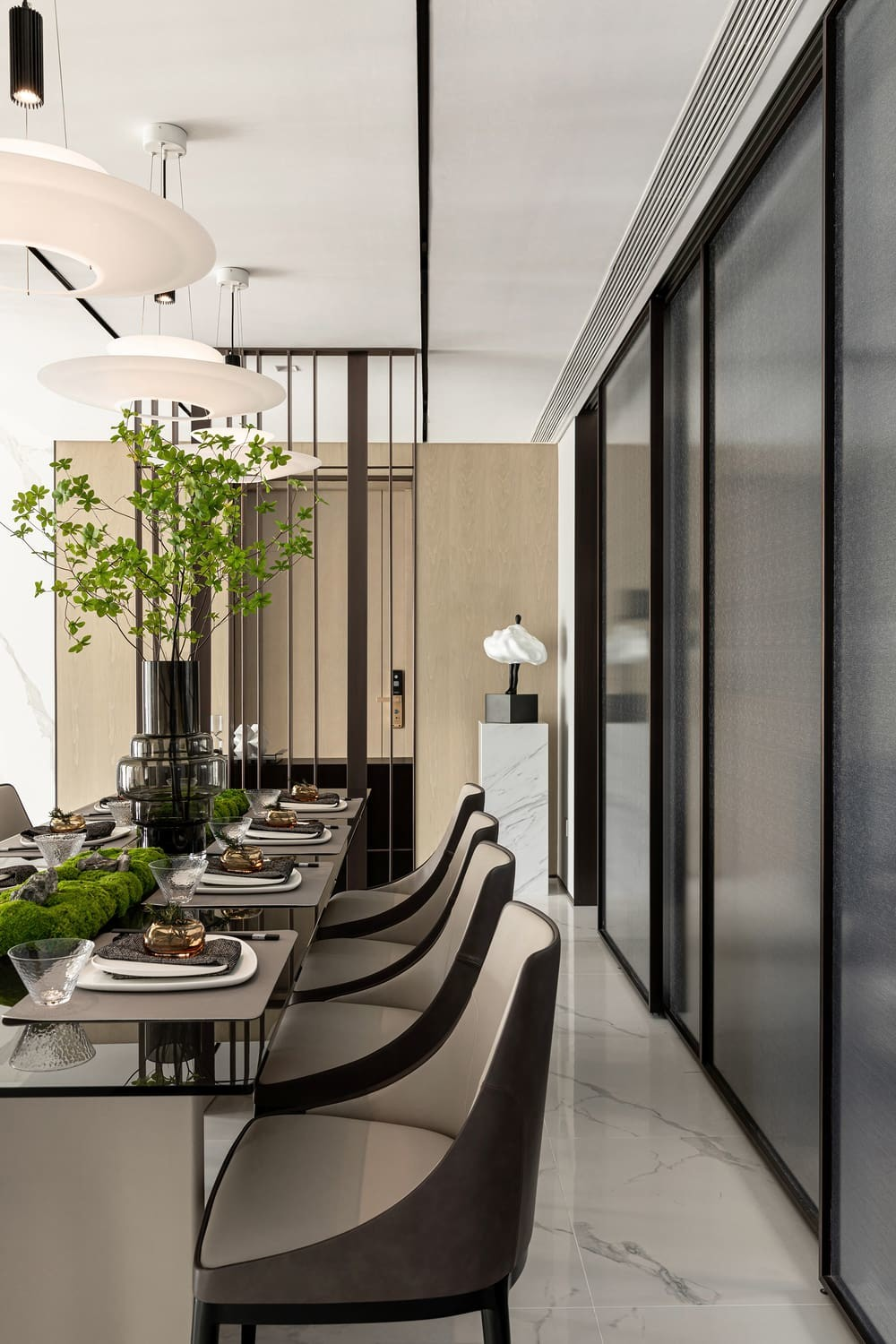 dining room by Qiran Design Group