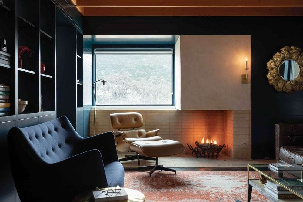 living room, a Multi-Family Compound by Tim Cuppett Architects