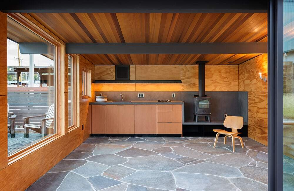fireplace, kitchen, Heliotrope Architects