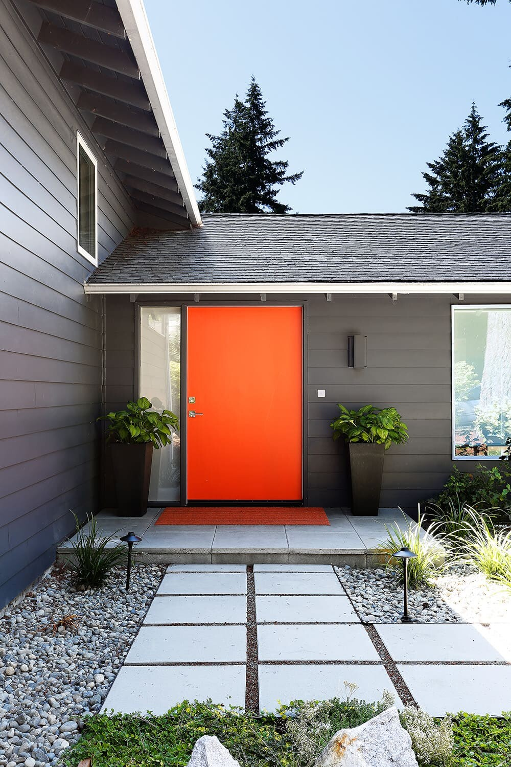 The new, extra wide front door.
