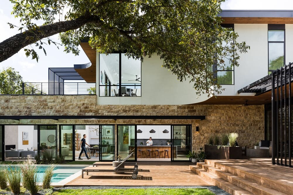Modern House in Austin Designed as a Grouping of Small Intimate Stone Pavilions