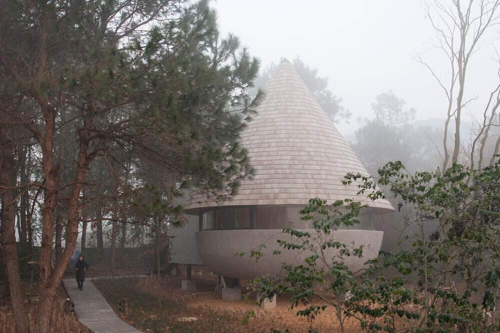 A Mushroom-Formed Wood House in the Forest