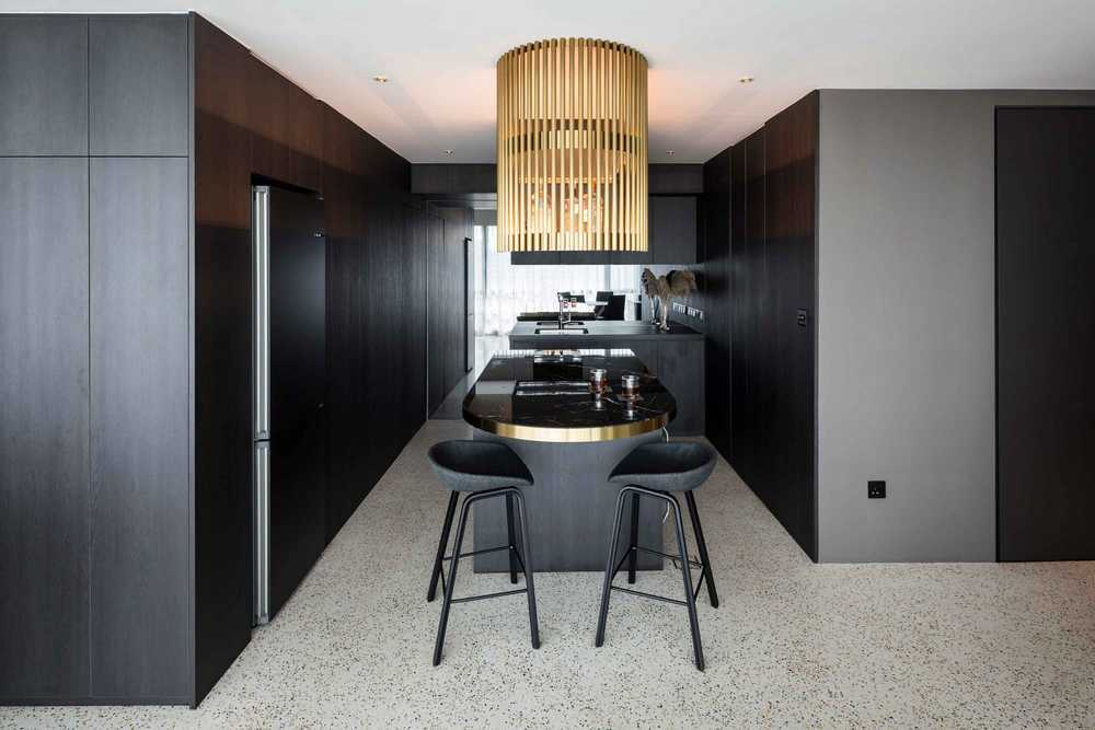 A Bachelor's Pad Designed with Black, White and Gold